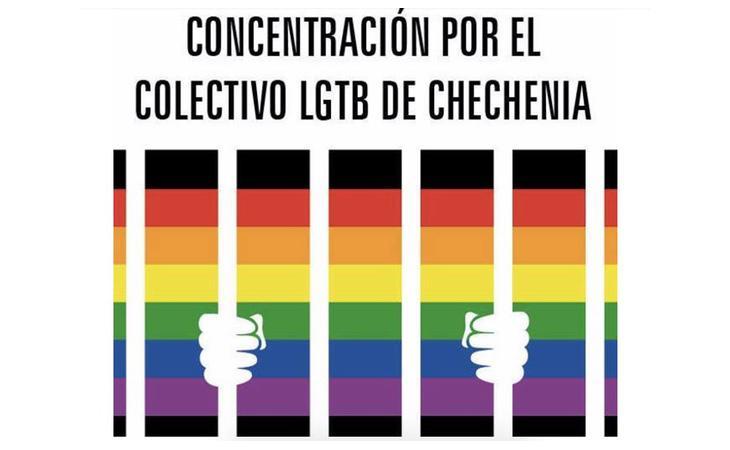 Cartel editado por FELGTB para llamar a la movilización contra el genocidio en Chechenia