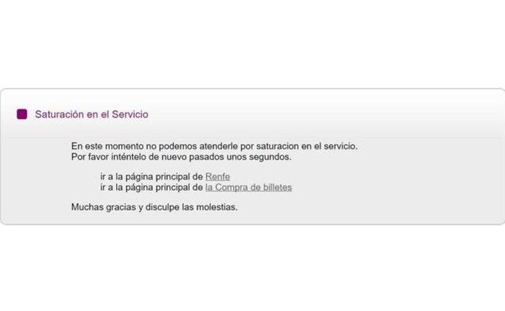Mensaje de la web de Renfe que han visto algunos usuarios que intentaban conseguir su billete de Ave a 25 euros