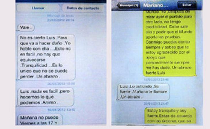 Algunos de los mensajes intercambiados entre Mariano Rajoy y Luis Bárcenas