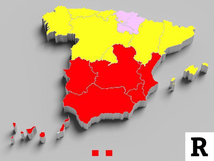 En rojo, las comunidades con más de un 20% de población pobre en amarillo, las que poseen enre un 10 y un 20% y en morado las comunidades que poseen una población pobre inferior al 10%