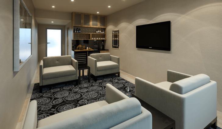 Una suite exclusiva con cama, baño, salón, cocina...