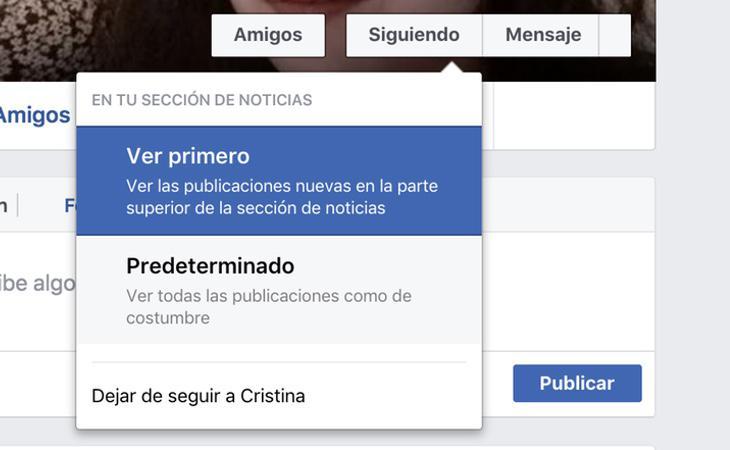 Estas son las tres opciones que nos permite Facebook a la hora de seguir a un contacto
