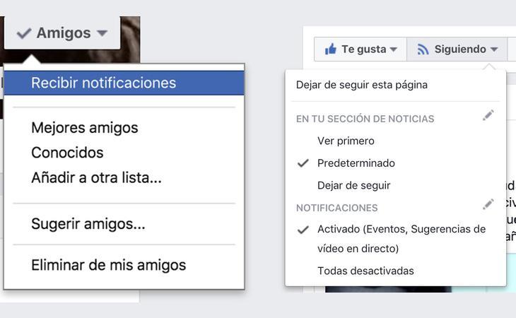 A la izquierda, el desplegable para los usuarios. A la derecha, en páginas
