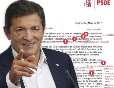 Javier Fernández (PSOE) suspende en ortografía con 26 erratas en su respuesta a Pablo Iglesias