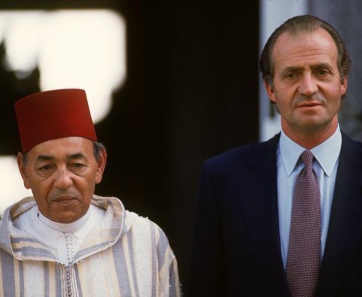 El Rey Juan Carlos junto al monarca alauí Hassan II