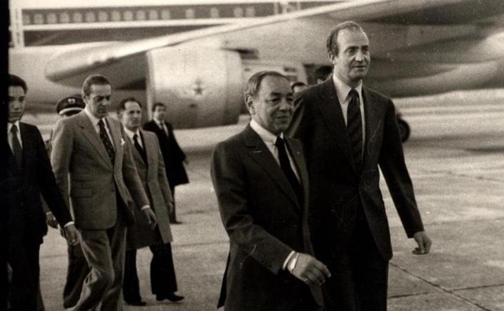 Juan Carlos y Hassan II en una visita de Estado