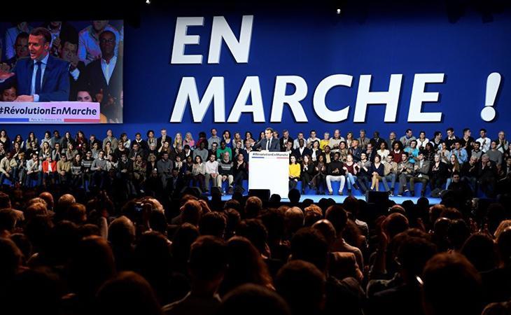Macron, durante un acto de su nueva formación, En Marche!