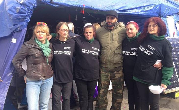 Las mujeres de Sol, durante su acampada para reclamar derechos para las víctimas de la violencia de género