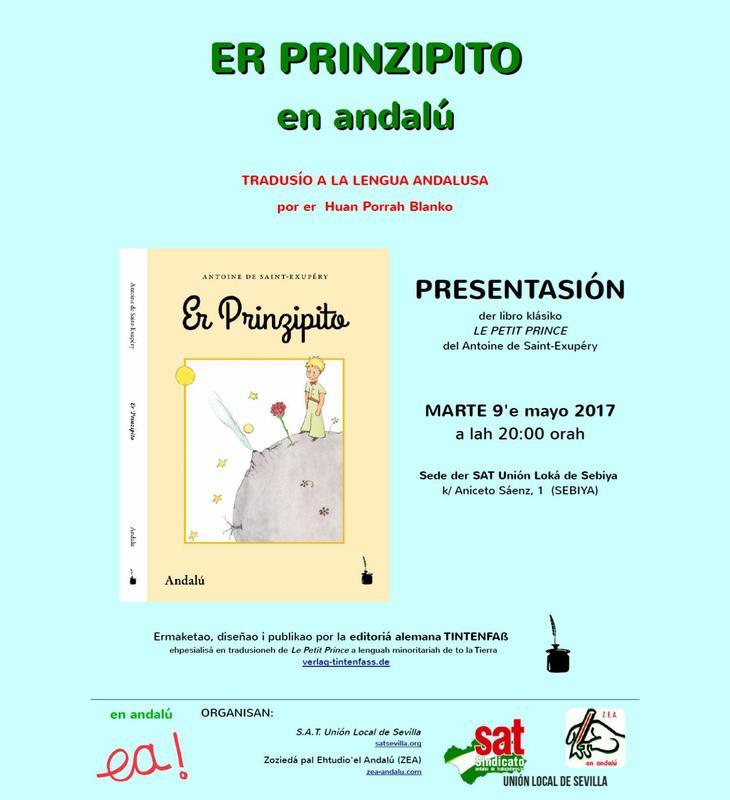 Cartel de promoción de la traducción de 'El Principito' en idioma andaluz