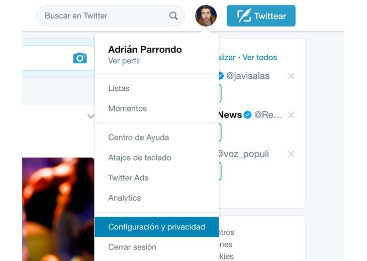 Primer paso a seguir para revertir el permiso concedido a Twitter