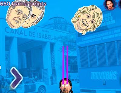 Pablo Iglesias mata corruptos con su mirada en el nuevo videojuego del 'Trama Wars' de Podemos