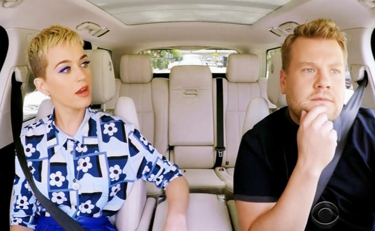 Katy Perry en 'Carpool Karaoke' con James Corden