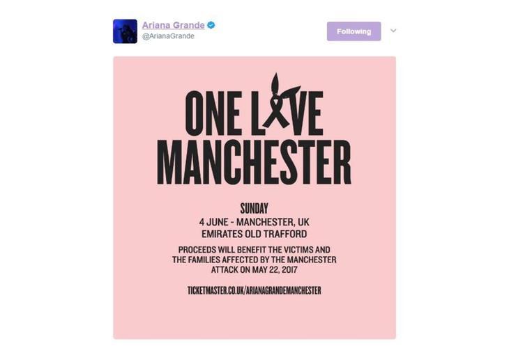 Ariana Grande colgó el cartel del concierto benéfico en su perfil de Twitter