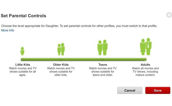 Menú de control parental en Netflix