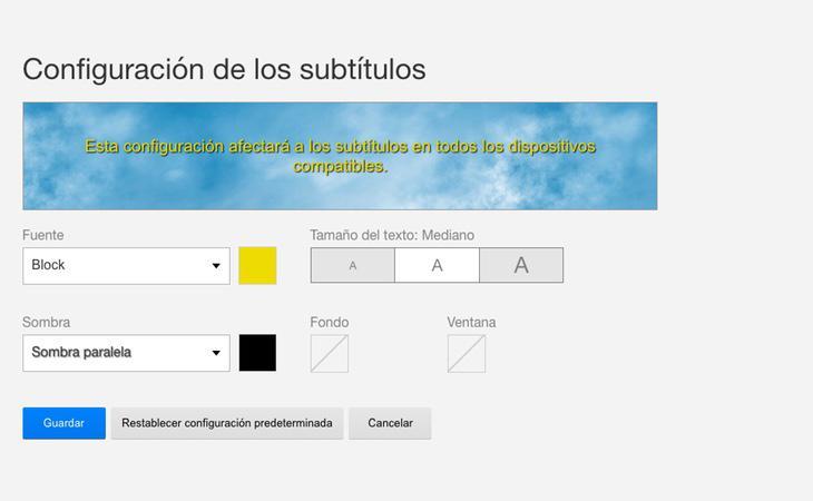 Menú de configuración de subtítulos