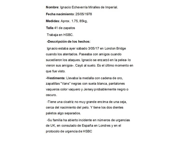 Algunos de los datos brindados por las autoridades sobre Ignacio Echeverría