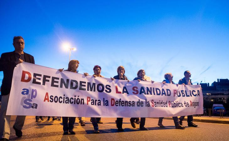 Manifestación a favor de la Sanidad Pública en Aragón