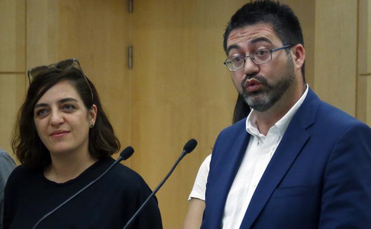 Los concejales de Ahora Madrid, Carlos Sánchez Mato y Celia Mayer