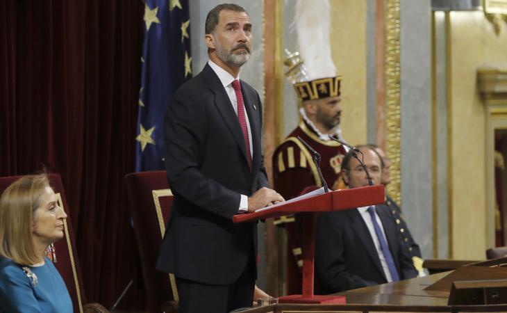 El Rey Felipe, durante su alocución en el Congreso de los Diputados