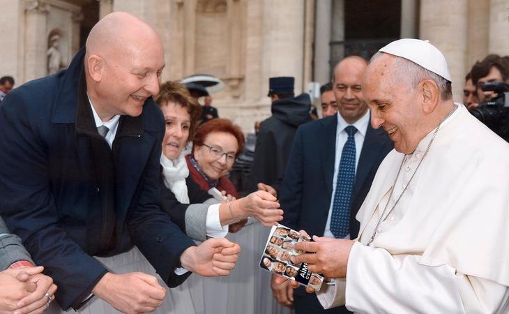 Daniel Pittet, junto al Papa Francisco