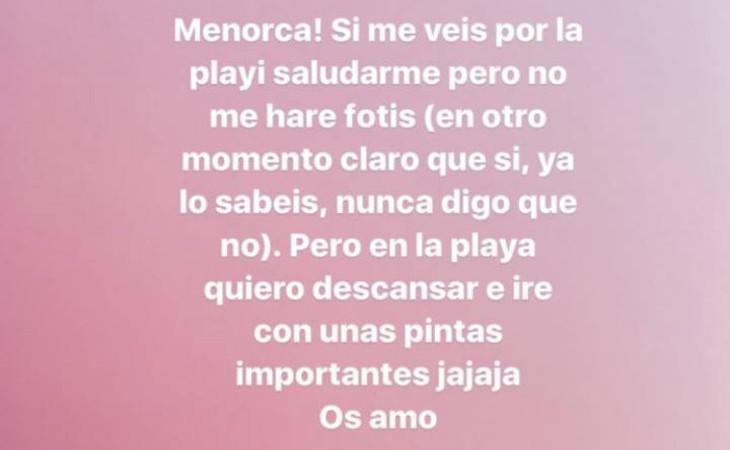 El mensaje que publicó Dulceida en su perfil de Instagram