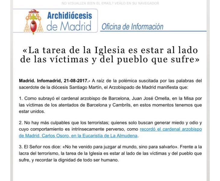 Comunicado del Arzobispado de Madrid