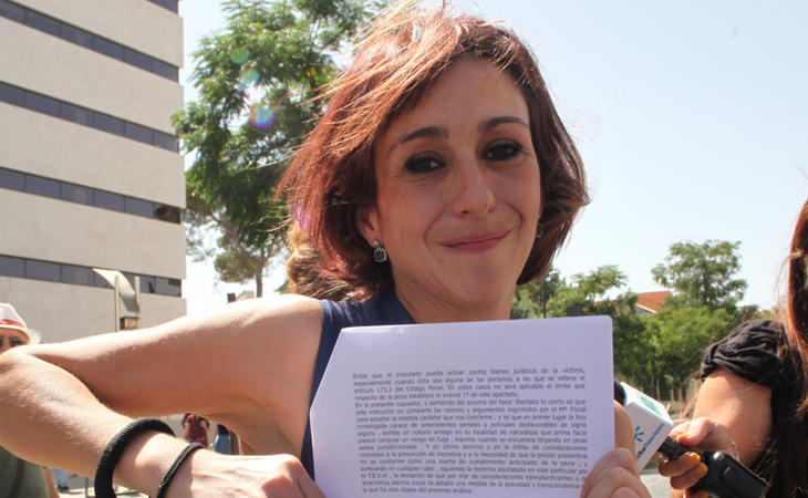 Juana Rivas a su salida de los juzgados
