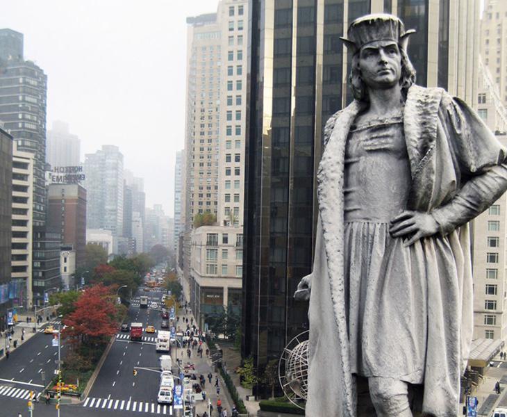 Fotografía de la estatua de Colón en Nueva York