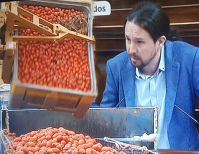 TVE censura a Pablo Iglesias en la comparecencia de Rajoy emitiendo la tomatina de Buñol