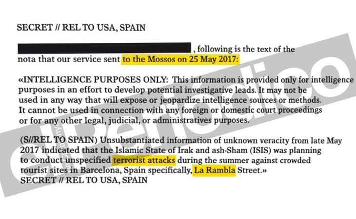 Cable que la CIA remitió a los Mossos el pasado 25 de mayo