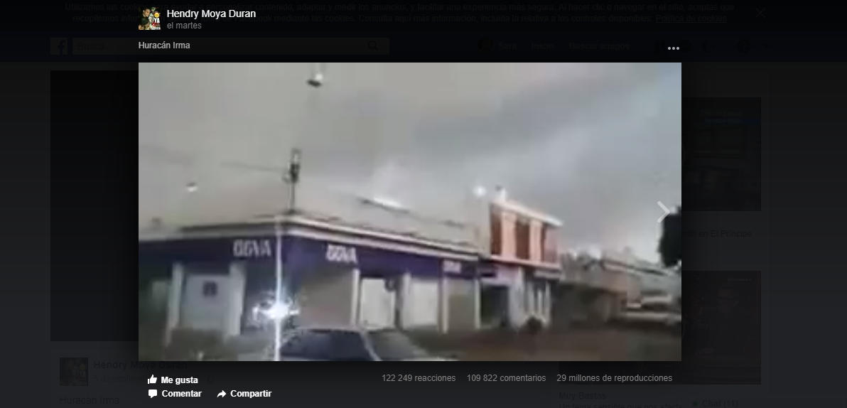 Se trata de un vídeo falso que simulaba mostrar el Irma