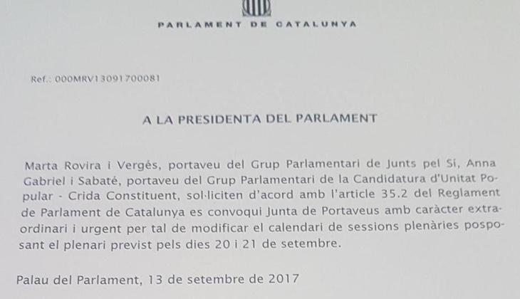 Texto en el que Junts pel Sí y la CUP han pedido la suspensión de la actividad parlamentaria