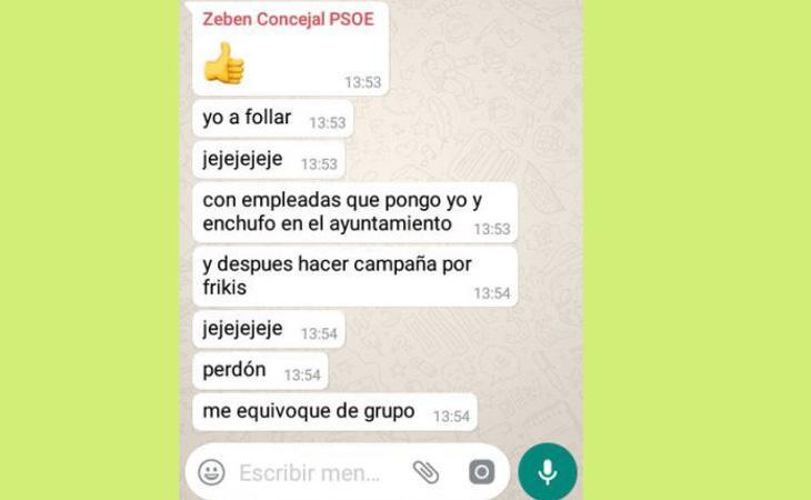 Algunos de los mensajes que escribió el concejal en el grupo de Whatsapp