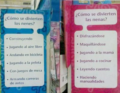 "Críticas a un supermercado por un cartel sexista: ""Ellos construyen, ellas se maquillan"""