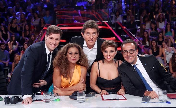 Manel Fuentes junto a Carlos Latre, Lolita, Chenoa y Àngel Llàcer, jurado de 'Tu cara me suena'