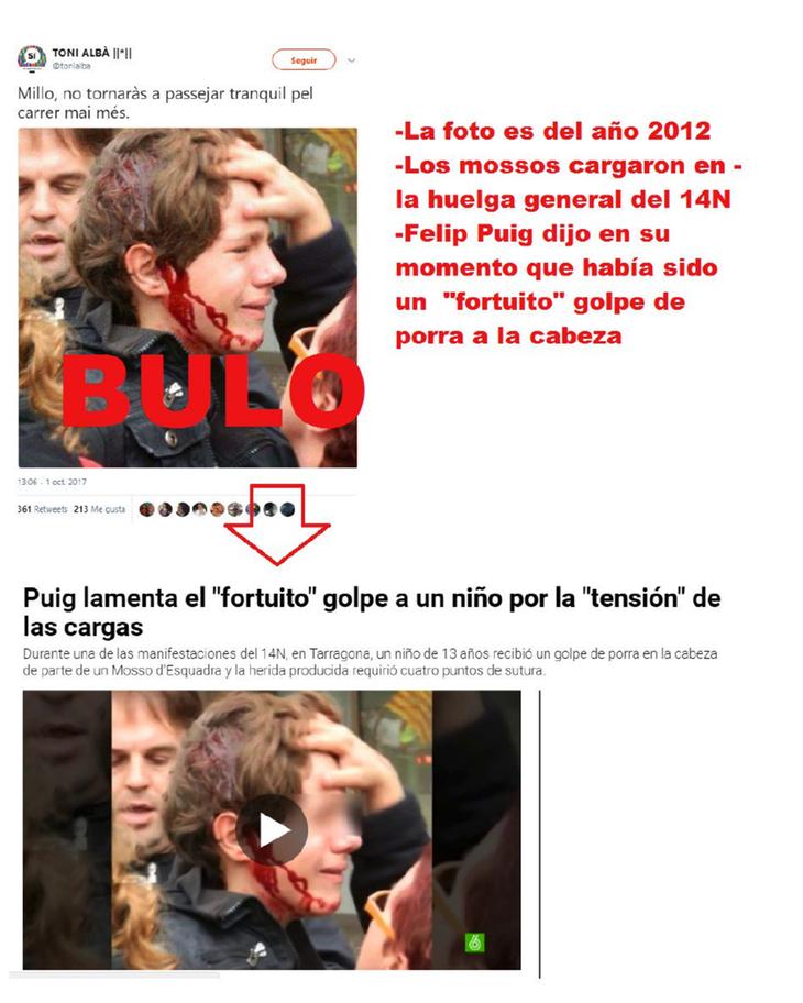 La propia página de maldito bulo nos resume en esta imagen la falsa noticia del chico herido