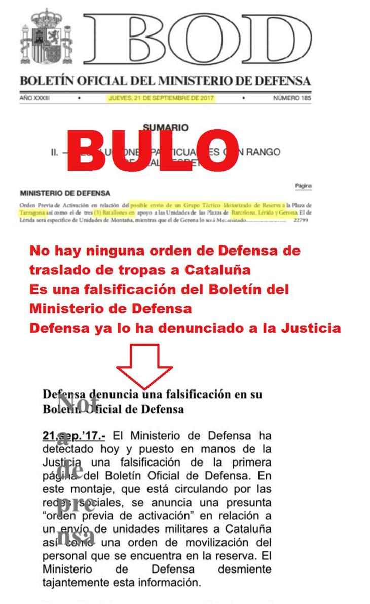 Documento falsificado sobre en Boletín Oficial del Ministerio de Defensa
