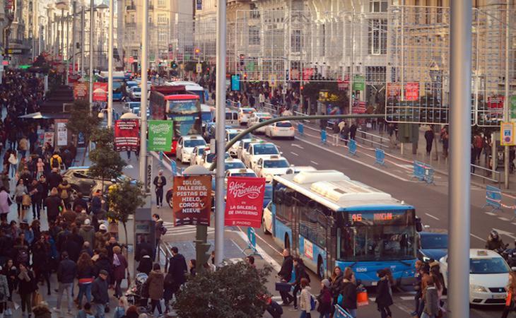 La Gran Vía madrileña durante su cierre en las pasadas celebraciones navideñas