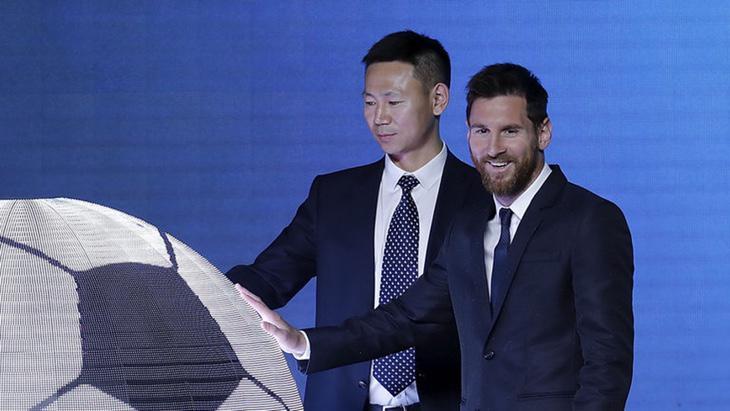 Leo Messi en la presentación del parque en China