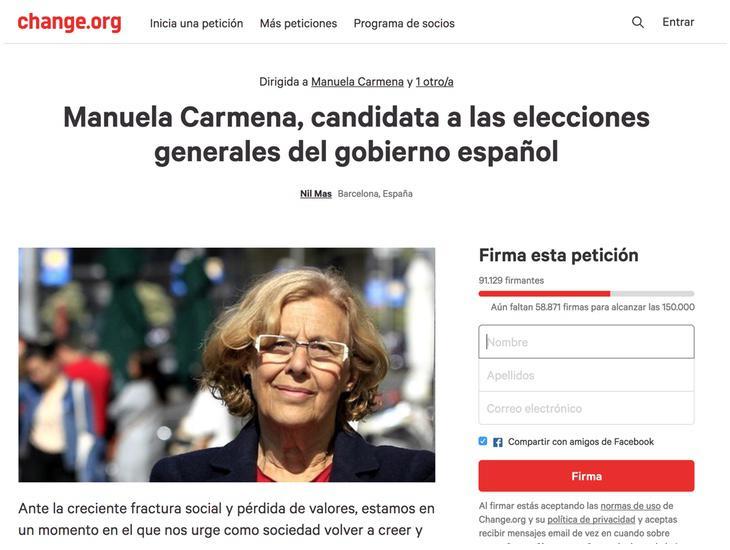Captura de la petición para que Manuela Carmena se presente a las elecciones generales