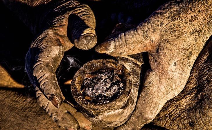 En un tubo de metal que usa como pipa, fuma excrementos de animales