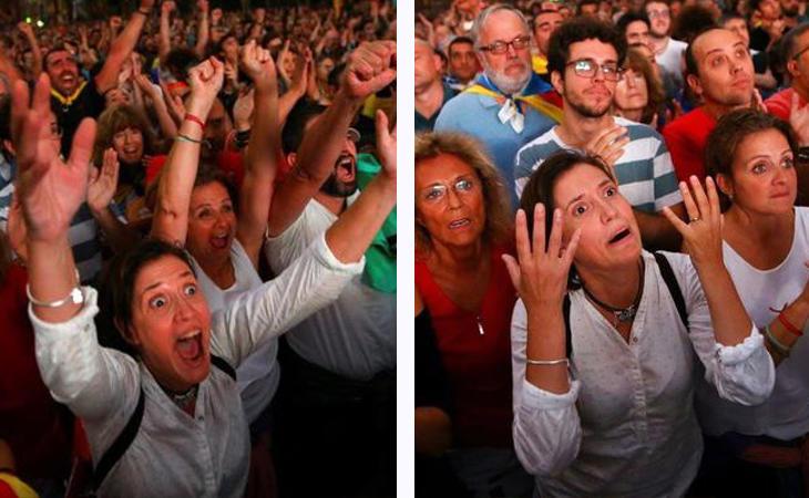 Reacciones de los manifestantes tras la proclamación de la independencia y su posterior suspensión