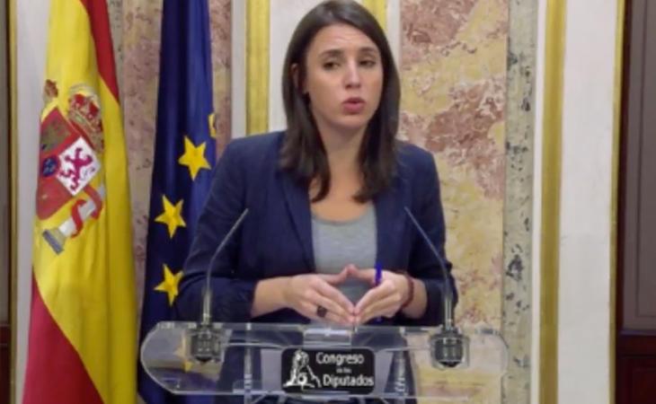La portavoz de Podemos, Irene Montero, apoya la reforma de la Constitución