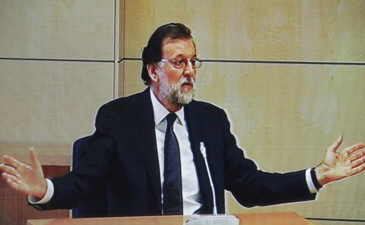 Mariano Rajoy durante su declaración ante los jueces por su implicación en la trama corrupta