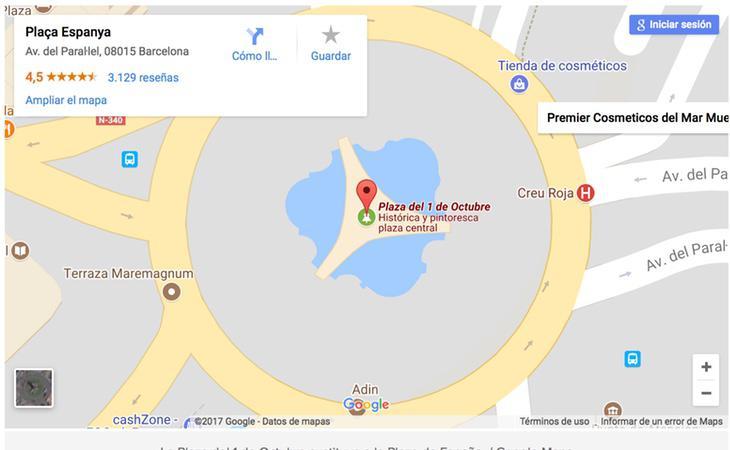 Captura de pantalla en la que aparece la Plaza del 1 de Octubre