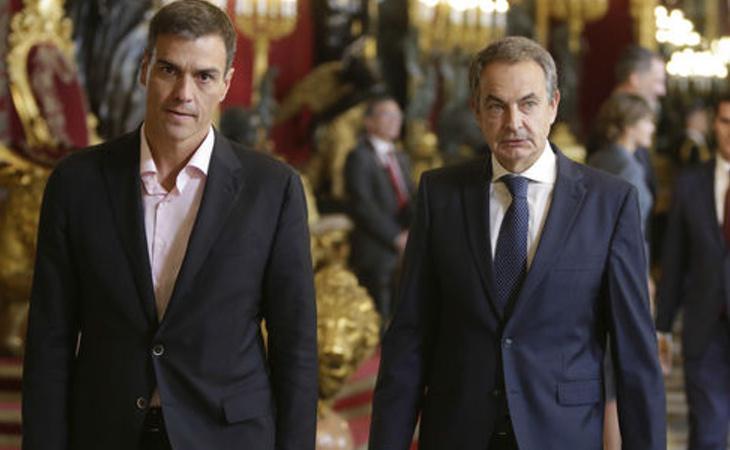 Pedro Sánchez junto a el ex presidente José Luis Rodríguez Zapatero