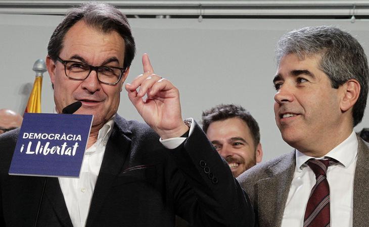 Artur Mas junto a su ex vicepresidente y portavoz del Govern, Francesc Homs