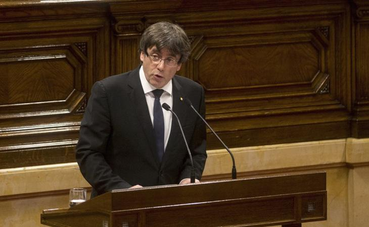 Carles Puigdemont durante su comparecencia en el Parlament
