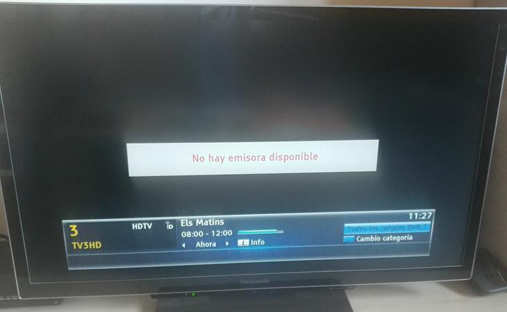 Imagen de TV3 sin emisión