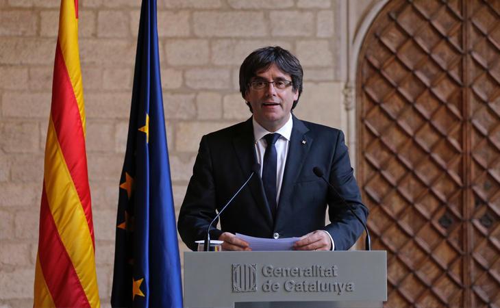 Carles Puigdemont durante su comparecencia para rechazar elecciones en Cataluña